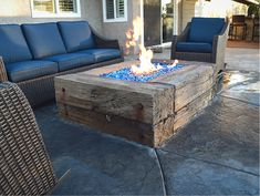 Concrete fire pit that replicates railroad ties, Josh Annis uses hand made tools to create a life like look.