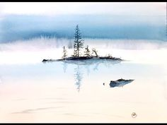 (33) Watercolor Fog on a Lake Painting Demonstration - YouTube