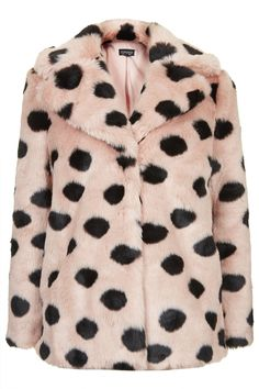 Photo 1 of Faux Fur Polka Dot Coat
