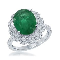 Oval Emerald Diamond Ring, features a 4.00ct emerald by Diana M. Jewels