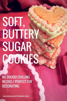 THIS IS THE BEST SOFT SUGAR COOKIE RECIPE!! They have the perfect balance of buttery and sweet and the dough does NOT have to be refrigerated before rolling out (time saver!!). These ccokies have clean, precise cut-out edges even after being baked and the