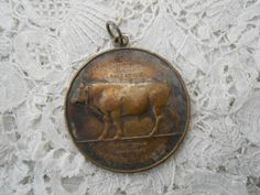 Antique cow medla/farming medal 1910 signed by Nkempantiques, €11.50