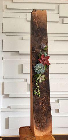 Succulent art/plant art/succulents/succulent planter/succulent arrangement/reclaimed wood/rustic decor/burnt wood/wood art/planter by PlantsinMind on Etsy