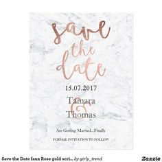 Save the Date faux Rose gold script white marble P Postcard