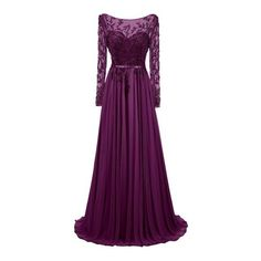 Dresstells® Long Jewel Prom Dress Beaded Sleeved Evening Party Gown:... (750 RON) ❤ liked on Polyvore featuring dresses, gowns, long dress, long evening dresses, long sleeve dresses, beaded evening dress, purple evening dresses and long prom dresses