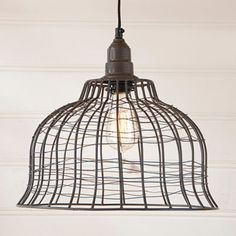 INDUSTRIAL WIRE CAGE PENDANT LAMP in Smokey Black Finish