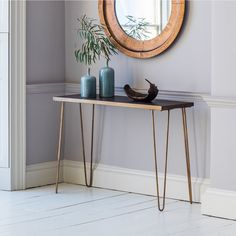 Pompeii Industrial Console Table with Gold Metal Hairpin Legs FOL100125