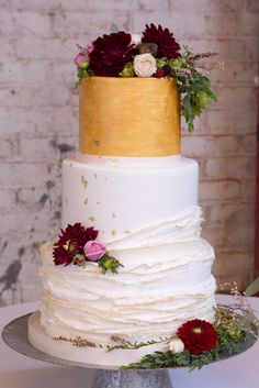 Cake by M Cakes Sweets CCl Weddings 440 Seaton Fondant ruffles Gold Leaf