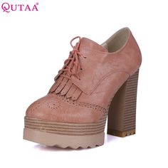 32.74$  Buy here - http://alikak.shopchina.info/1/go.php?t=32587577862 - QUTAA 2017 Fashion Ladies Shoes PU leather Tassel Wedge Low Heel Platform Lace Up Woman Pumps Women Casual Shoes Size 34-42 32.74$ #magazine