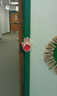 "Laminate a hand and use a overhead marker to write a sight or vocabulary word on it.  Students have to say the ""secret passcode"" when coming in and leaving the room!"