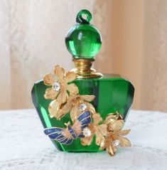 Sugared Flowers and Blue and Peach Cloisonne Butterfly Vintage Jewelry Embellished Emerald Green Perfume Bottle by Janny Dangerous