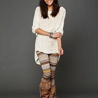 free people, like this idea of patterned leggings with simple whtie top and boots
