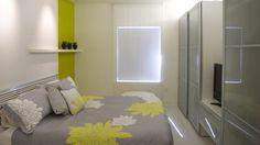 Hangulatos, modern hálószoba szürke és zöld színben