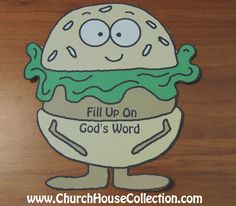"""Church House Collection Blog: Hamburger Printable Cutout Template For Sunday School Kids- With and Without Words """"Fill Up On God's Word"""" Craft Or Bulletin Board Idea. #hamburger #crafts #printable #template #lettuce #pray #bible #sunday #school #God #scripture #christian"""