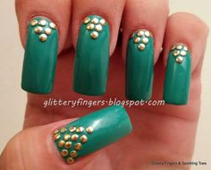 Glittery Fingers & Sparkling Toes: Studded Mint & Gold Half Moons