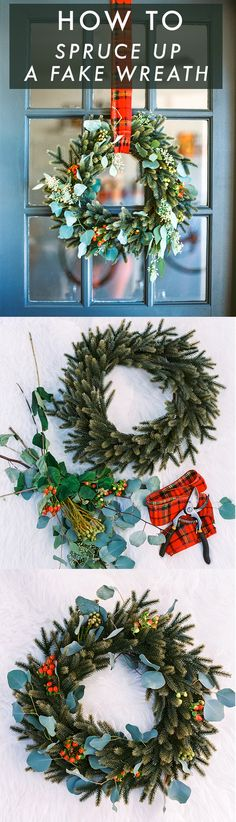 How to spruce up a fake wreath this Christmas using berries and red plaid ribbon. #holiday #diy