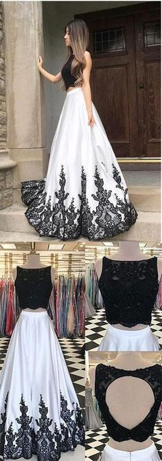 Black White Lace Two Pieces Prom Dress