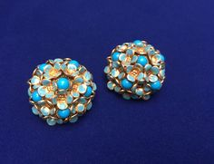 Vintage 1950s Blue Forget Me Not Clip On earrings large domed floral Blue enamel faux Turquoise by ArthursTreasureChest on Etsy