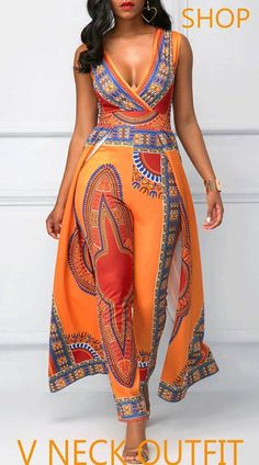 016211574757 Overlay Embellished Dashiki Print V Neck Orange Jumpsuit On Sale At  Modlily. Fashion And Cheap · African Fashion DressesAfrican ...