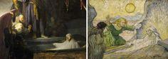 Solda Rembrandt, Lazarus'un Yükselişi, 1632 Sağda Vincent Van Gogh, Lazarus'un Yükselişi, 1890