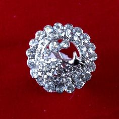 I'm auctioning 'Vintage Platinum Plated Round Austrian Crystal Peacock Fashion Ring CB246 |We combine shipping|No Question Refunds|Bid over $60 for free shipping' on #tophatter