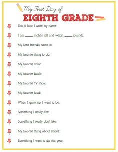 First Day of Eighth Grade Interview - Click image or link below to download - Positively Splendid {Crafts, Sewing, Recipes and Home Decor}