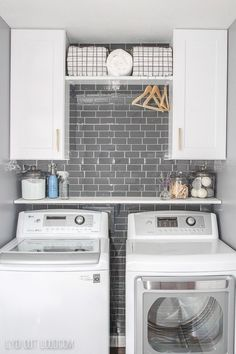 Small Laundry Room Makeover in a day! Small laundry room organization Laundry closet ideas Laundry room storage Stackable washer dryer laundry room Small laundry room makeover A Budget Sink Load Clothes Laundry Room Remodel, Laundry Room Cabinets, Laundry Room Organization, Diy Cabinets, Laundry Closet Makeover, Laundry In Closet, Laundry Room Makeovers, Laundry Storage, Laundry Room Shelving