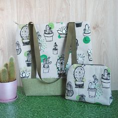 Succulent Cactus Set, Zippered Tote Bag and Cosmetic Pouch https://etsy.me/2I3V087 #etsy #airyfairybags #bagsandpurses #green #succulentcactus #zipperedtote #bagcosmeticpouch #fabrictote #makeuporganizer #shoulderbag #canvasbag #ecotote #linentote #everydaybag #summer