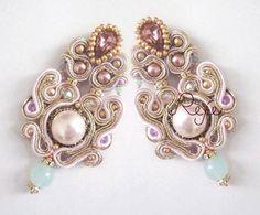 Soutache earrings Rose Powder por Rejesoutache en Etsy