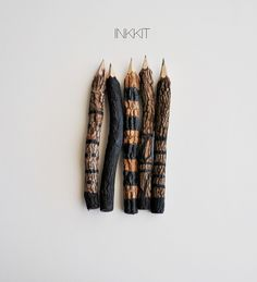"""7"""" one of a kind black hand painted graphite twig pencils"""