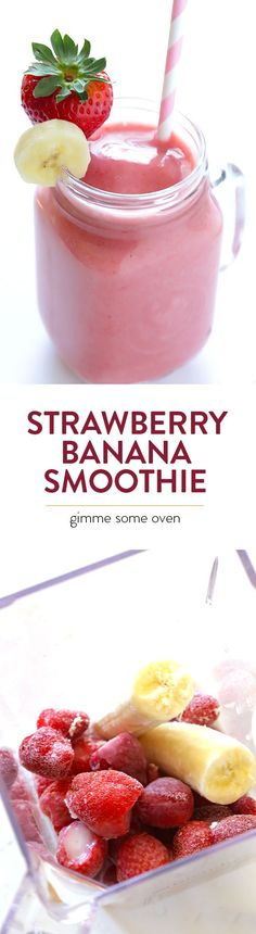 My all-time favorite recipe for a classic strawberry banana smoothie, made with just a few easy ingredients! | gimmesomeoven.com