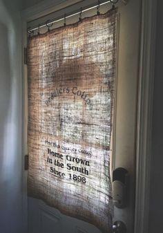 A woman ran an iron over a burlap sack & her door looks amazing now