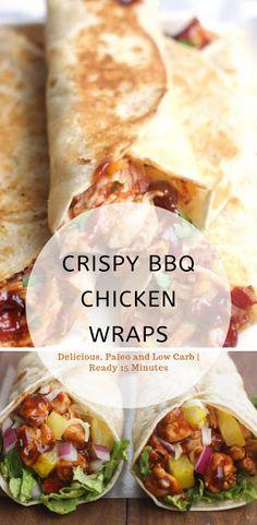 Crispy BBQ Chicken Wraps #chickenwraprecipes #dinnerrecipes #lunchrecipes
