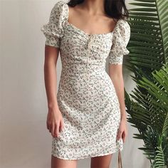 Summer Dress 2020 Retro Boho Women Tie Neck Floral Print Floral Mini Sexy White Dress Puff Sleeve Korean Vestidos - Dress Up Markt Sexy White Dress, White Mini Dress, Dress Outfits, Casual Dresses, Summer Dresses, Elegant Dresses, Sexy Dresses, Floral Dresses, Work Dresses