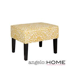 angelo:HOME Brighton Hill Modern Damask Golden Yellow and Cream Small Bench @Overstock.com $93