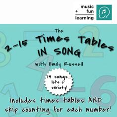 You (and your kids) will LOVE listening to the variety of musical styles and rhythms while learning these fun multiplication tables! Listen to a sampling below and purchase it TODAY!  $5.99 for 14 songs!!  All songs copyright 2014 Emily S. Russell. All songs composed and performed by Emily S. Russell.  To allow artists the ability to make a living at their craft, we kindly and respectfully ask that digital downloads NOT be shared!  Thank you.