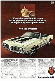 1970 Olds 442 Indy 500 Pace Car in Dr. Oldsmobile print ad