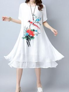 Two-Layer O-Neck Short Sleeve Print Dresses