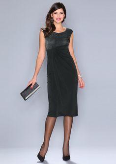 Večerné šaty s nariasením #Modinosk Calvin Klein, Dresses For Work, Fashion, Mantle, Draping, Black Gowns, Party Dress, Moda Femenina, Sleeves