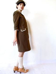 vintage 60s mod cocoa brown textured shirt by GinnyandHarriot, $58.00