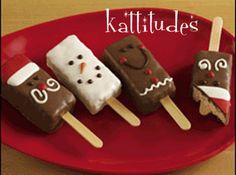 Rice krispies treats on a stick Xmas Food, Christmas Sweets, Noel Christmas, Christmas Goodies, Christmas Candy, Christmas Baking, Christmas Chocolate, Christmas Stuff, Christmas Recipes
