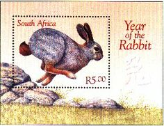 year of the rabbit postal stamp with Cape hare from South Africa Year Of The Rabbit, Bunny Art, 1920s Art Deco, Stamp Collecting, Native American Art, Postage Stamps, South Africa, African, Bunnies