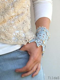 "Hand knitted lace bracelet cuff light blue linen yarn ""Cold Water"" via Etsy. Lace Bracelet, Crochet Bracelet, Cuff Bracelets, Lace Knitting Patterns, Hand Knitting, Bordados E Cia, Selling Handmade Items, Lace Cuffs, Crochet Gloves"