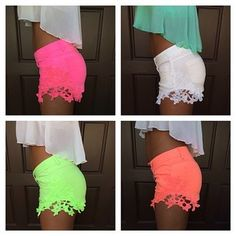 Cute shorts with crochet detailing. Neon Shorts, Cute Shorts, Summer Shorts, Teen Fashion, Fashion Outfits, Womens Fashion, Summer Outfits, Cute Outfits, Swagg