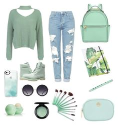 """Green"" by sofi135 on Polyvore featuring moda, Topshop, Boohoo, Timberland, Casetify, Alice + Olivia, Eos, MAC Cosmetics, Tory Burch y Henri Bendel"