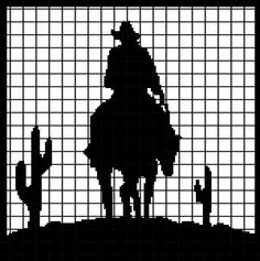 Cowboy in the Desert Crochet Graphghan Pattern (Chart/Graph AND Row-by-Row Written Instructions)