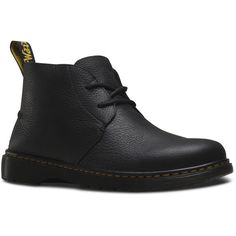 Dr. Martens Ember Short Lace-Up Low Boot ($120) ❤ liked on Polyvore featuring men's fashion, men's shoes, men's boots, black, dr martens mens boots, mens short boots, mens black leather shoes, mens leather boots and mens leather shoes