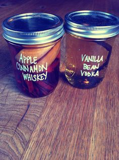 homemade infused vodka and whiskey