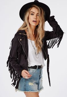 Black suede fringe jacket Never worn. Not sure if I want to sell it or not. Bought from Pylo an online store LF Jackets & Coats Faux Suede Biker Jacket, Fringe Leather Jacket, Coats For Women, Clothes For Women, Couture, Black Suede, Suede Leather, Black Leather, Hippy