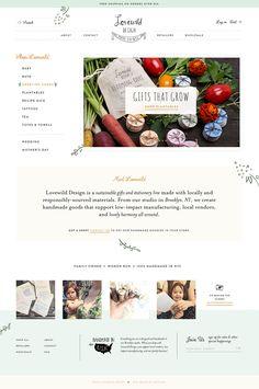 A Shopify website redesign for Lovewild Design, a handmade designer gift shop brand, including a website before & after comparison.